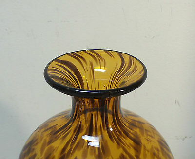 "Beautiful Mid-Century Tortoise Shell Art Glass Hand Blown Vase, 10.5"" 2"