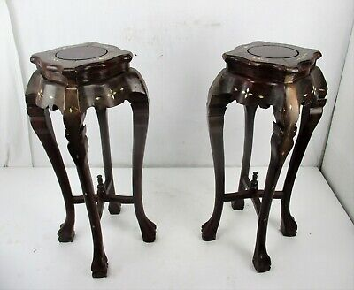 Pair Tall Carved Hard Wood Plant Bonsai Tables Pedestal  Inlay Mother of Pearl 3