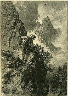 alter Holzstich:Auf der Spur des Wilderers/  1890-1910 2