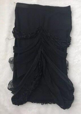 STELLA McCARTNEY Silk Pencil SKIRT Womens size 40 Black Above Knee Fringe 8
