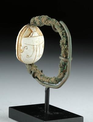 Egyptian Middle Kingdom Steatite Scarab & Bronze Ring Lot 4