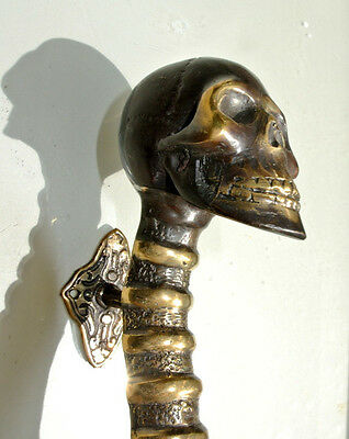 medium SKULL handle DOOR PULL spine solid BRASS old vintage bronze style 28cm B 2