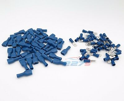 100x Blue Fully Insulated Spade Electrical Crimp Connectors- Audio / Electric 5