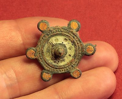 Ancient Roman Enameled Disc Fibula or Brooch, 3. Century 3