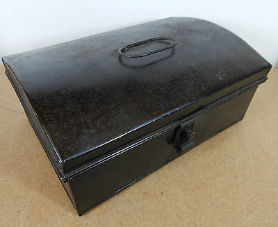 Vintage Tin Dome topper small storage chest Stationary etc 33cm x22cm hasp catch 3