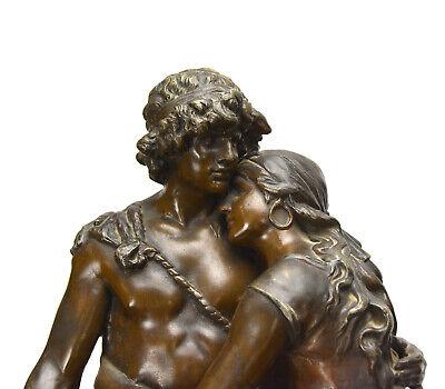 Antique French NAPOLEON III Antony Bailly Bronze Figure Marble Base Mantel Clock 5