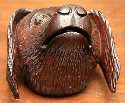 "Part- 19th c Renaissance Victorian carved dog head, walnut, 4""w 8"