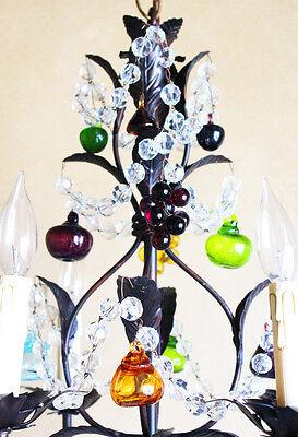 Antique Vintage Italian Tole Multi Color Blown Glass Chandelier Rare Gorgeous