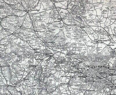 1883 Map Environs Birmingham Wolverhampton Dudley Swan Village Albion 2