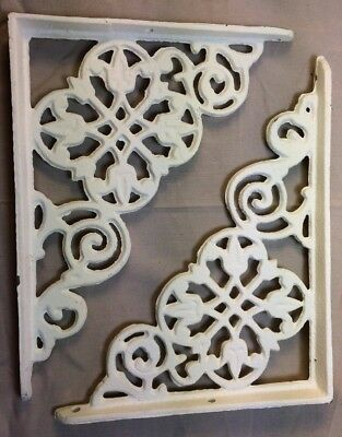 SET of 4 ANTIQUE WHITE VICTORIAN FLORAL STYLE CAST IRON BRACE / BRACKET 2