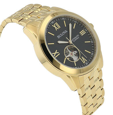 Bulova Men's 97A132 Automatic Open Heart Black Dial GoldTone Bracelet 42mm Watch 4