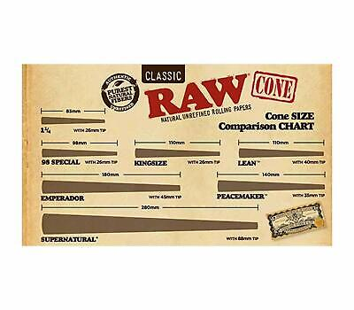RAW 20 Classic King Size Cones, 109mm Pre Rolled Hemp Cones, W Gallery Box 5