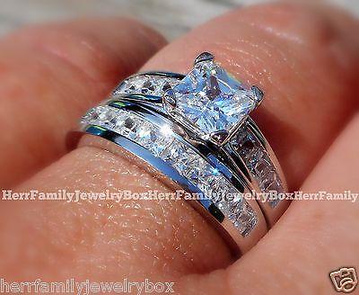 Sterling Silver 14k White Gold Princess Diamond cut Engagement Ring Wedding Set 6
