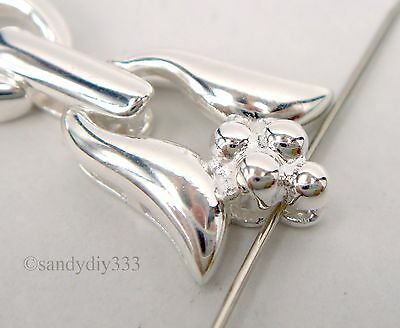 1x STERLING SILVER FLOWER BEADING THREAD CORD END CAP CONNECTOR CLASP #2302 7