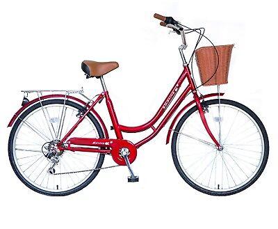 """Sale! SPRING 26"""" 6 Spd Lady Town Dutch Bike & Basket & Bell 5 Year Warranty Gift 9"""