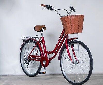 """Sale! SPRING 26"""" 6 Spd Lady Town Dutch Bike & Basket & Bell 5 Year Warranty Gift 5"""