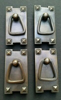 "4 Mission Stickley antique style brass vertical ring handles pulls 2 1/2"" #H25 7"