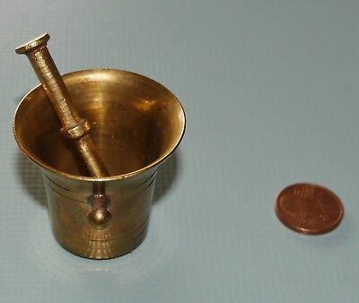 Alter Mörser & Stößel Pistill Miniatur Apotheke Messing Antik Vintage klein 10