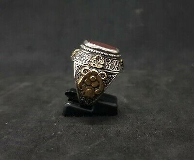 Beautiful Old Yemani Agate Stone Solid Silver And Gold Plated Unique Ring #H85 6