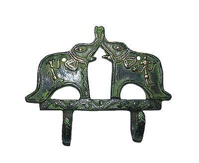 A MARVELOUS & Beautifully Engraved 2 Elephants design Brass made COAT HOOK India 2