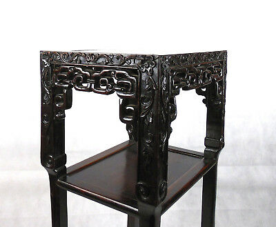 Chinese Hardwood Incense Table Marble Inset Qing Dynasty 19th C 9