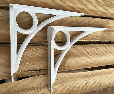 "Pair White 8x6"" ANTIQUE HEAVY CAST IRON VICTORIAN SHELF WALL BRACKETS - BR24wx2 2"