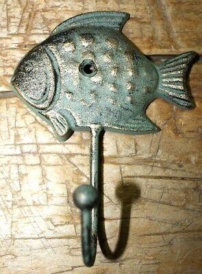 3 Cast Iron Antique Style SUN FISH Coat Hooks Hat Hook Rack Towel Nautical Beach 3