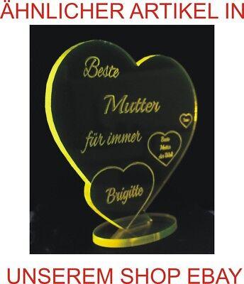 """Topgraveure-Herz """"die Beste Mama""""- Geburtstag Geschenk Muttertag Acryl Liebe"""