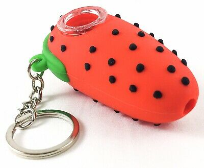 "NEW 3"" Strawberry Silicone Tobacco Herb Smoking Hand Pipe Glass Bowl & Keychain 2"