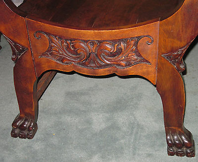 Antique  Wood Barrel Style Captains Chair Carved Old Man Winter Lion & Claw Feet 3