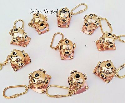Lot Of 10 Pc New Brass Divers Helmet Keychain Nautical Maritime Yatching Diving 4