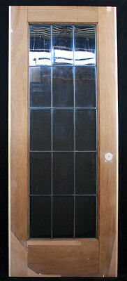 "RESTORED 30.5""x79"" Antique Interior Wooden French Door Leaded Glass Window Lite 2"