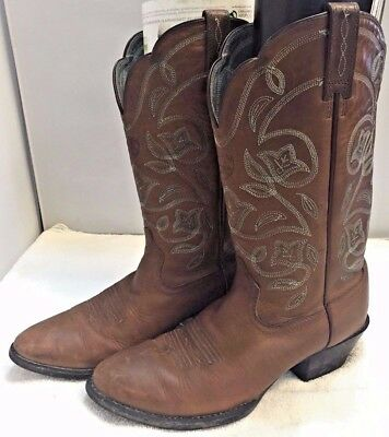edb9e2c2030 ARIAT WESTERN COWBOY Boots Womens 7B Brown Leather Horse Riding Blue  Embroidered