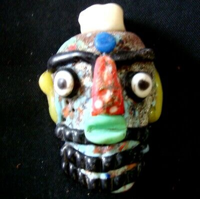 Ancient Phoenician Colorful Face Red Nose Beard Mosaic Glass Bead Pendant 647 2
