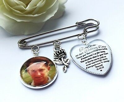 Groom Buttonhole Photo Memory Charm Message From Bride Grooms Gift Wedding 4