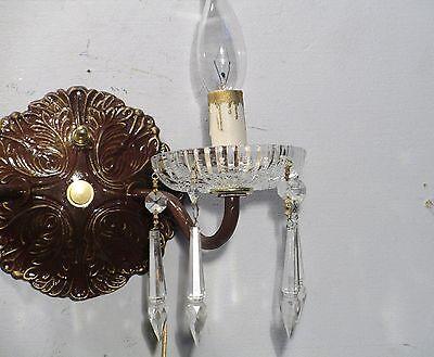 Antique Vintage Sconce Bronze Crystal 2 Light Crystals 4