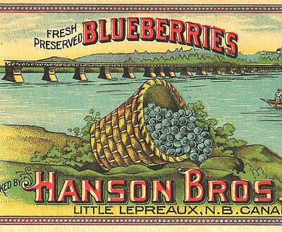 *Original* Little Lepreaux HANSON Bridge Brand Fresh CLAMS Can Label NOT A COPY!