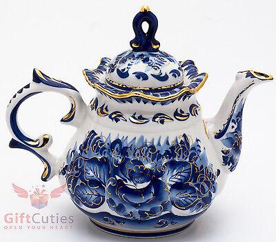 750 ml Gzhel Porcelain Coffee Pot Russian Porcelain Signed гжель Teapot