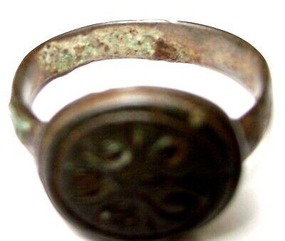 Ancient Rare Medieval bronze pseudo heraldry finger ring seal 8