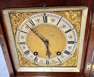 ~ Antique Architectural LENZKIRCH Walnut TING TANG Bracket Mantel Clock WORKING 6