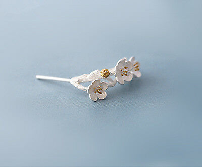 Solid 925 Sterling Silver Cherry Blossoms Flower Branch Line Stud Drop Earrings 8