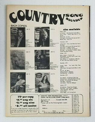Country Song Roundup Annual Vtg Magazine Fall 1977 Willie Nelson No Label EX 3