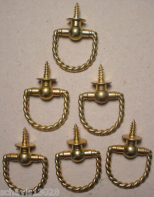 Vintage Brass Cabinet Drawer Door Pull Lot of 6 Never instal Quality Restoration 2