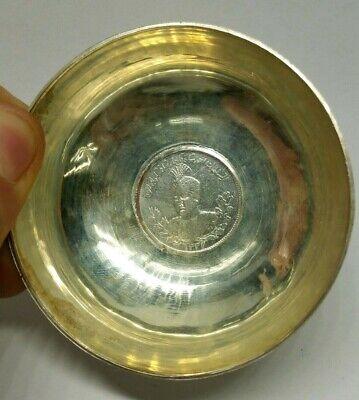 Antigüedad Plata de Ley Judaísmo Medio Oriental Moneda Shabbat Vino Copa Bowl 10