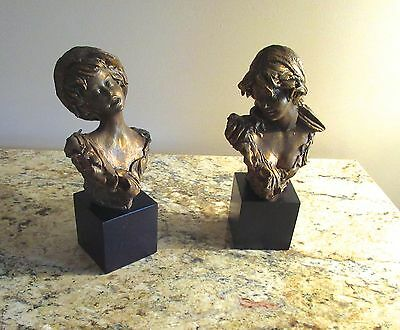 Pair Vtg ITALIAN- Bronzed PORCELAINS- FISHERBOY & MILKMAID- signed E.TASCA- nos 2