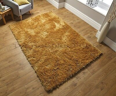 Dazzle Ochre Mustard Yellow Thick Long Pile Glitter Gold Sparkle Shaggy Rug 2