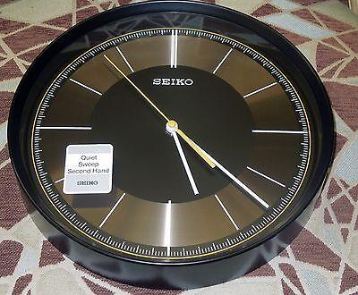 "Seiko Black Case 12"" In Diameter  Wall Clock W/ Quiet Sweep Second  Qxa612Klh 3"