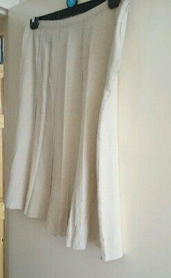 Linen skirt 14, 36' waist, 28' length, ivory cream,10 panel, button+zip. 5