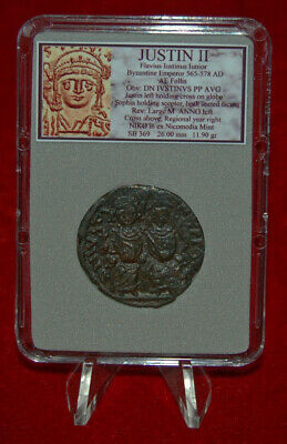 Ancient BYZANTINE EMPIRE Coin Of JUSTIN II Sophia And Justin II On Thrones 2