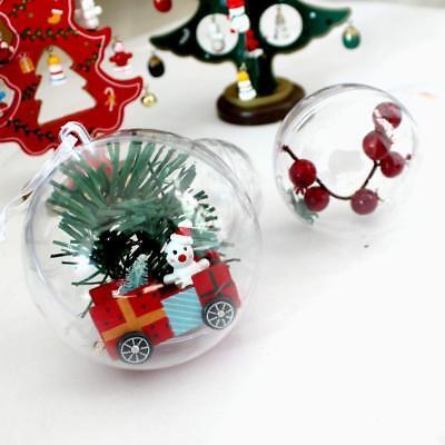 200Pcs Clear Plastic Christmas Balls Baubles Sphere Fillable Xmas Tree Ornament 10